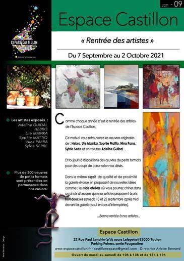 Artistes à découvrir – Espace Castillon « Rentrée des artistes » à Toulon - 0