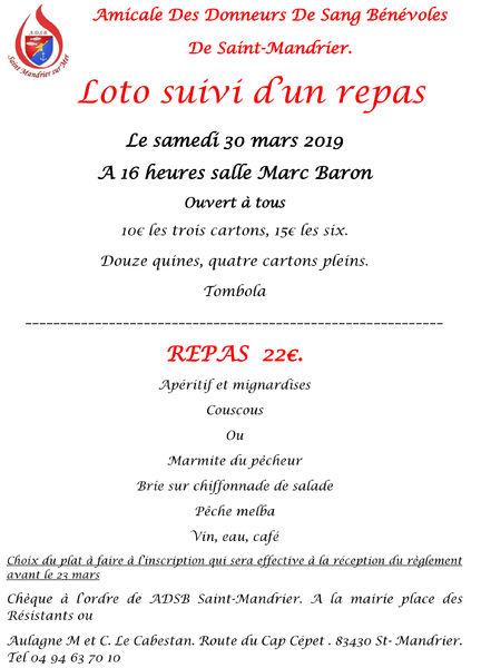 Loto et repas Amicale des donneur de sang bénévoles à Saint-Mandrier-sur-Mer - 0