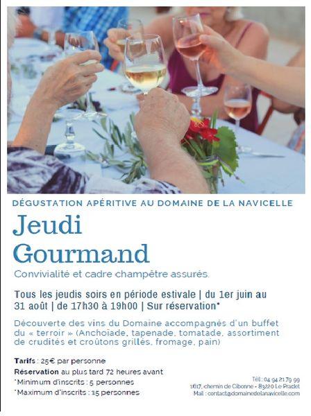 Jeudi gourmand . Dégustation apéritive au domaine viticole de la Navicelle à Le Pradet - 0