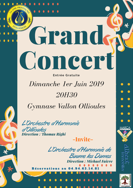 Grand concert de l'orchestre d'harmonie de la Lyre Provençale d'Ollioules à Ollioules - 0