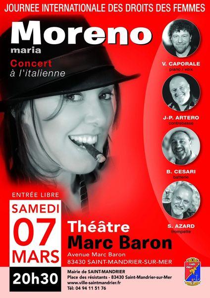 Journée internationale des droits des femmes : concert maria Moreno à Saint-Mandrier-sur-Mer - 0