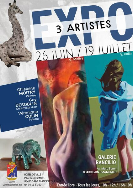 Exhibition of Ghislaine Moitry (painter), Guy Desoblin (art ceramist) and Véronique Colin (painter) à Saint-Mandrier-sur-Mer - 0
